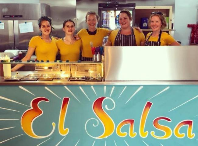 El Salsa owner Laura Elsaesser (centre) with her staff at the opening night at the new restaurant
