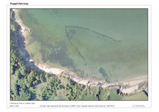 Arial view of the v-shaped Teifi fish trap