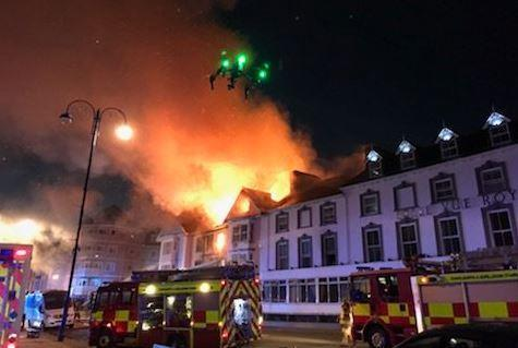 One person was reported as missing following a fire at a hotel at Aberystwyth. PICTURE: MWWFRS