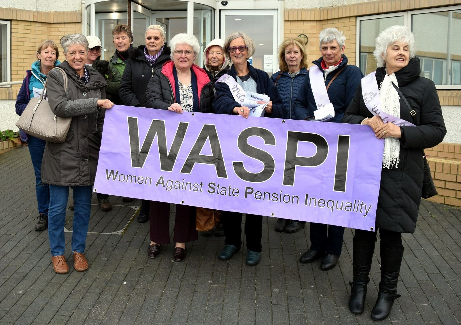 Women from Ceredigion WASPI outside the council meeting where the resolution to support the WASPI campaign was unanimously passed