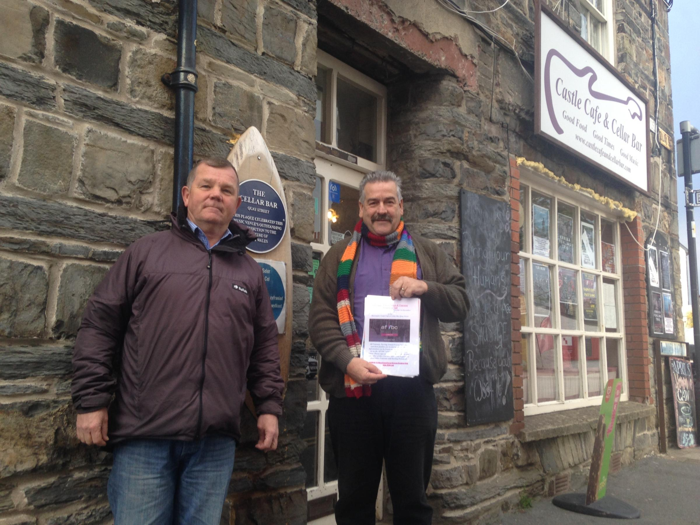 Tony Mason (left) and Steve Greenhalgh at Cardigan's Cellar Bar Cafe where the Cardigan Armed Forces and Veterans' Breakfast Club will be held