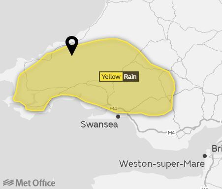 The Met Office has warned of heavy rain this morning with the possibility of flooding. PICTURE: Met Office