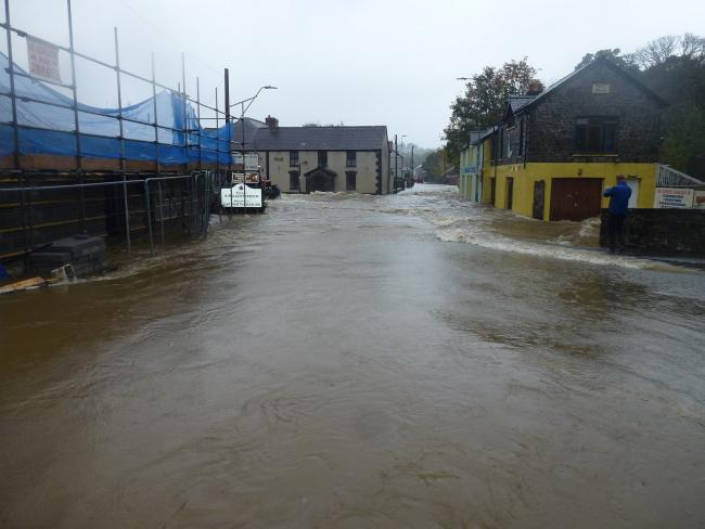 Flooding at Llandysul during Storm Callum. PICTURE: Jeremy Rundle