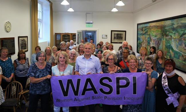 WASPI campaigners at a meeting at Cardigan Guildhall last year