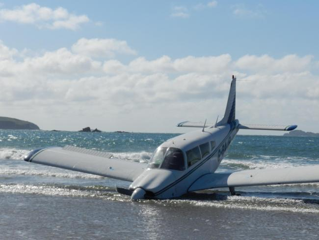 The plane in the sea at Whitesands. PICTURE: Western Telegraph.