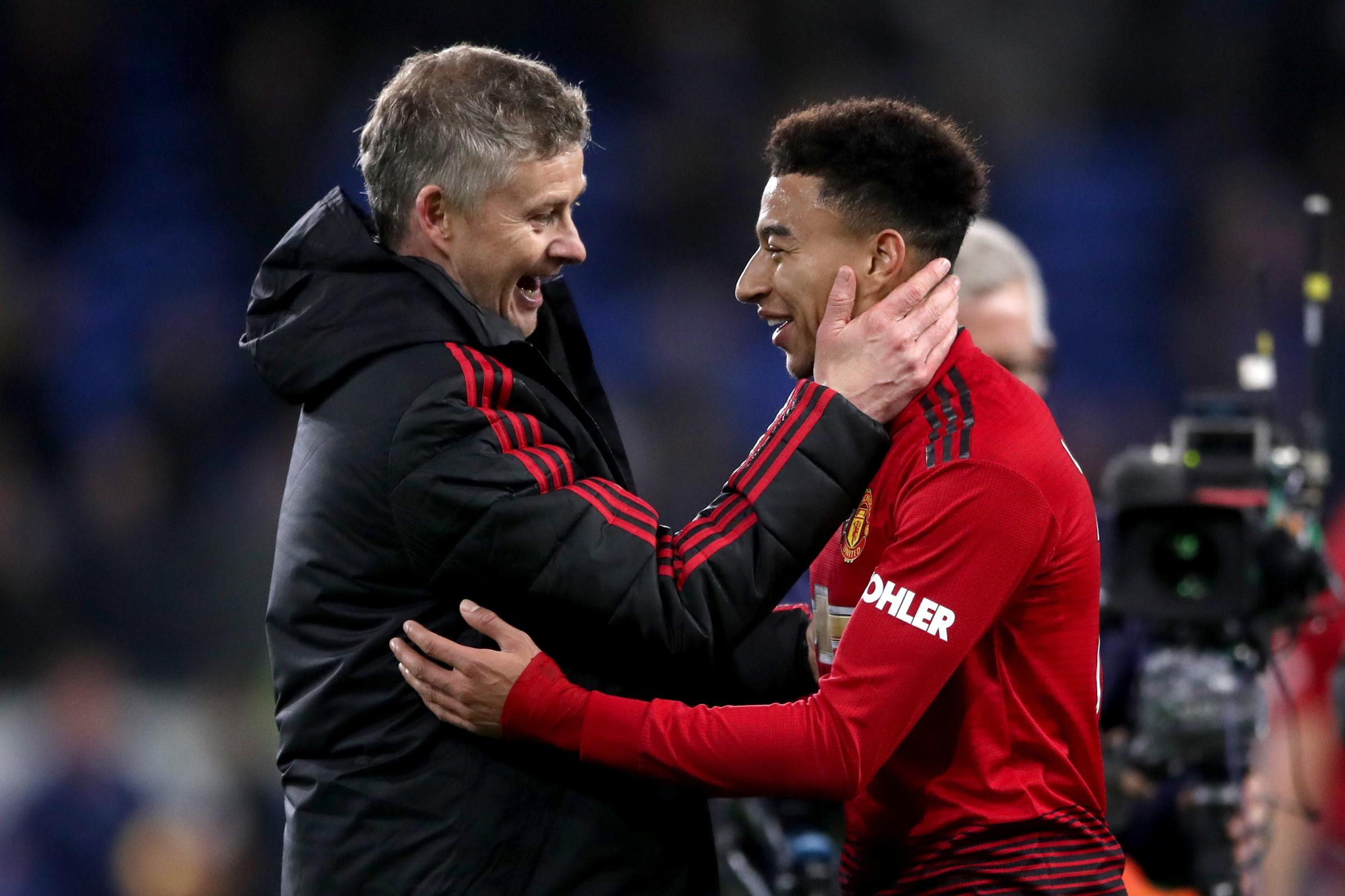 Jesse Lingard, right, and Ole Gunnar Solskjaer