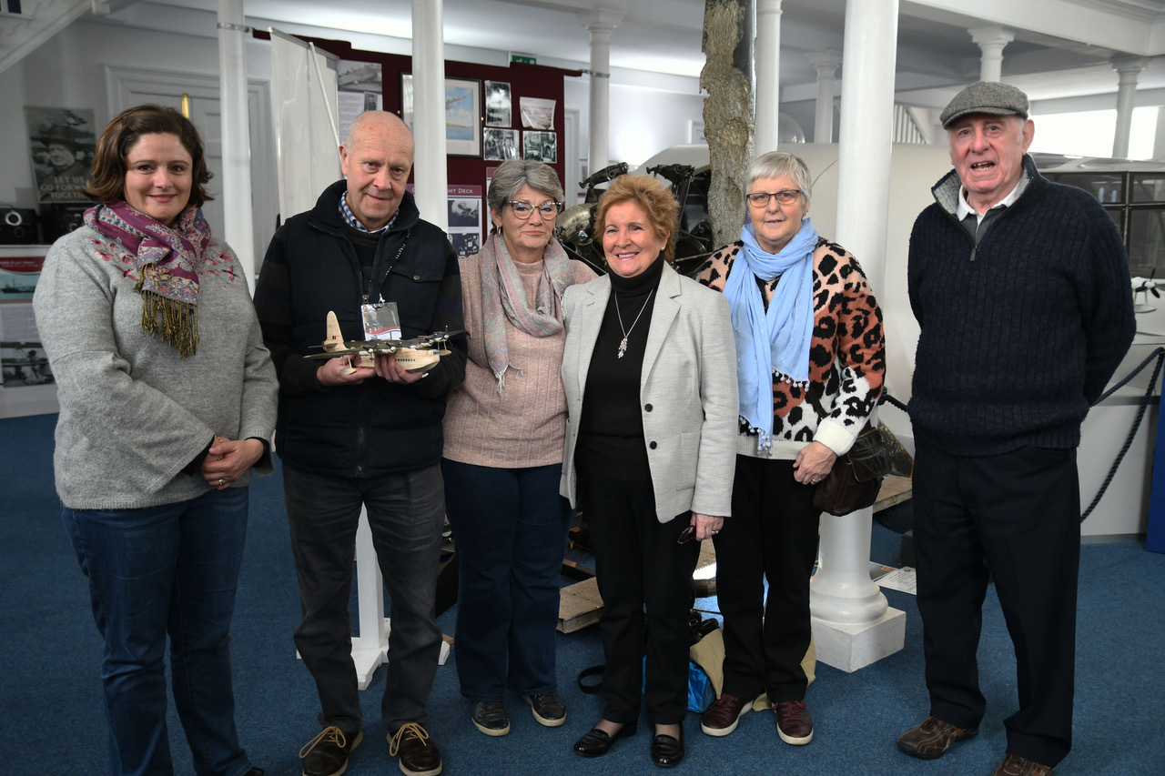 Volunteer John Mitchell was among those who welcomed cousins Jeanine Belbin and Eileen Hulbert and family members to the Pembroke Dock Heritage Centre. Left to right: Rebecca Astley, John Mitchell, Jeanine Belbin, Eileen Hulbert, Barbara Cartwright and Ke
