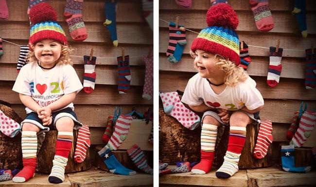 Wilson showing off his colourful socks for World Down Syndrome Day.