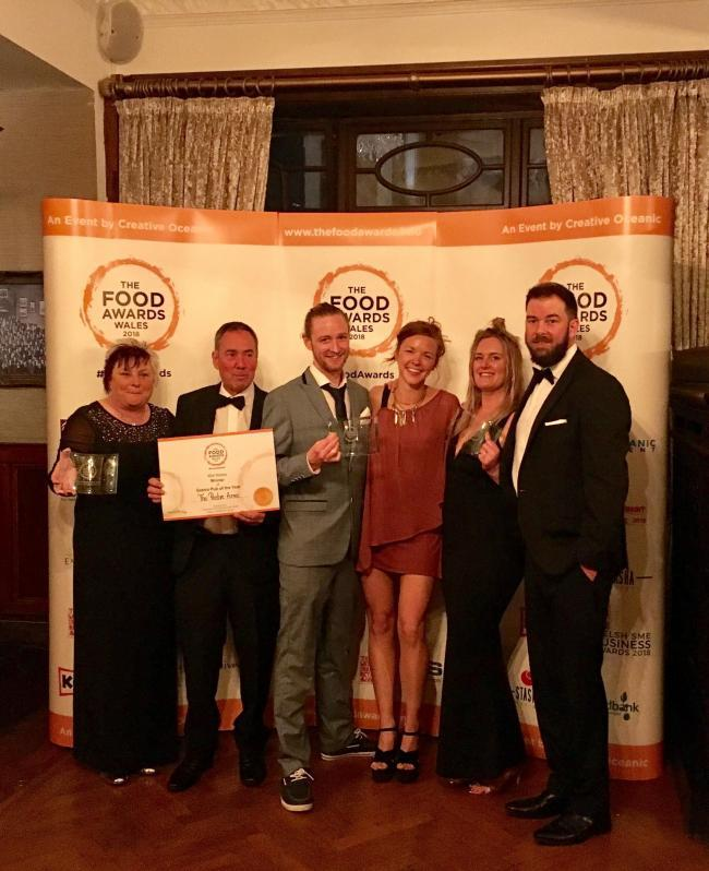 Cardigan winners at the Food Awards Wales 2018: Mandy Walters (Cardigan Bay Fish); Mike Rutherford (Pentre Arms); Huw Pritchard and Laura Elsaesser (El Salsa); Kate Brice and Huw Reed (Tafell A Tan)