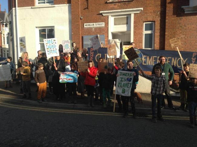 Young climate protestors recently took to the streets in Cardigan to voice their concerns