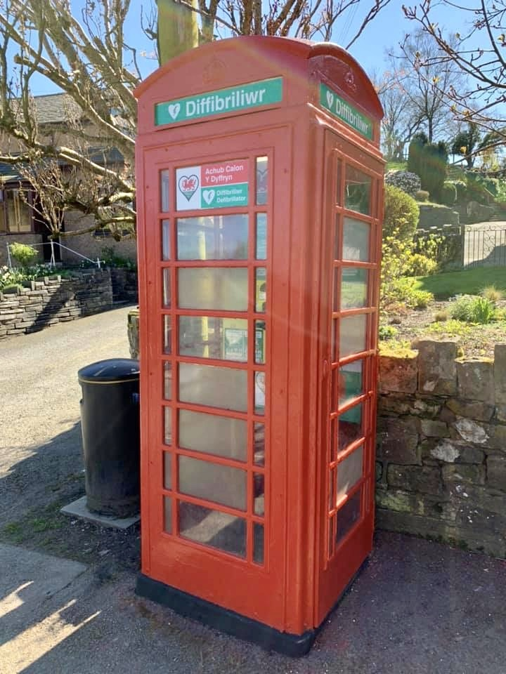 Old BT phone boxes are ideal to house defibrillators