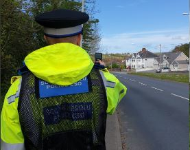 Officers have been carrying out speed checks in the Cardigan area today. PICTURE: Cardigan NPT