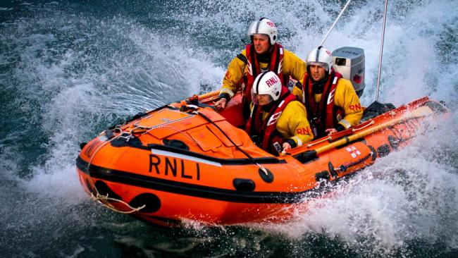 Cardigan Lifeboat was launched to a fishing boat in trouble today. PIC: Nathan Williams/ RNLI