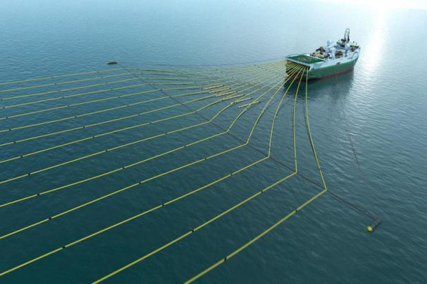 A ship carrying out a seismic survey.