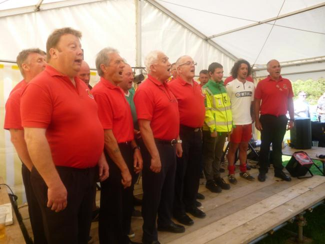 Cardigan Rugby Club choir plus guests perform at Steff's Fun Day PICTURE: Barry Adams